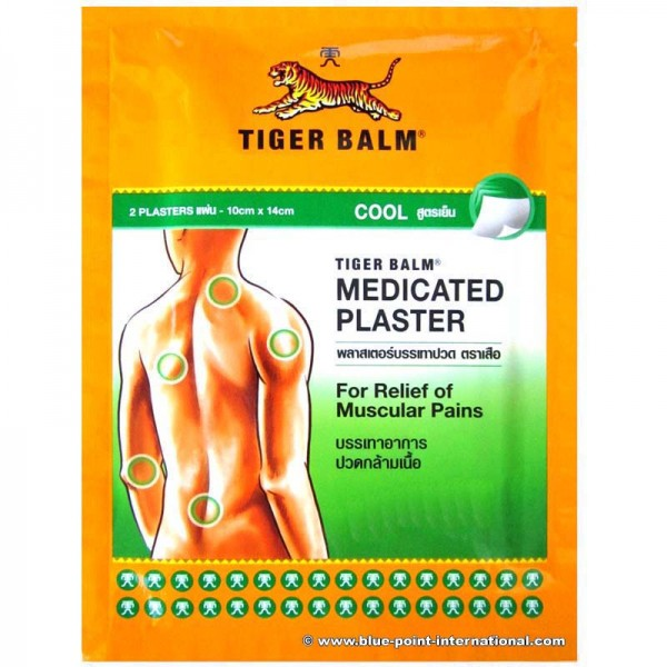 Tiger Balm Medicated Cool Plaster Pains Relief, Size 10 Cm X 7 Cm 1 Box , 5 Packs , 10 PLASTERS
