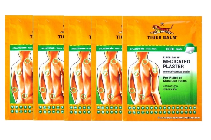 Tiger Balm Medicated Cool Plaster Pains Relief, BIG Size 10 Cm X 14 Cm 1 Box , 5 Packs , 10 PLASTERS