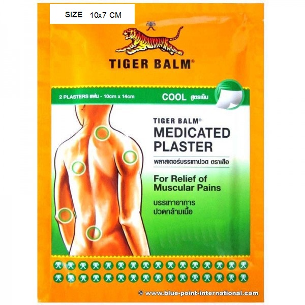 "<h3>Tiger Balm Medicated Cool Plaster Pains Relief, Size 10 Cm X 7 Cm 1 Piece , 2 PLASTERS</h3><h3><img src=""https://images.accessories-product.com/imgProduct/UsHon-20181025154218724/UsHon-20181025154218724-20190225162357/UsHon-20181025154218724-20190225162357373c65c885d2d63a3be8602274d4a442.jpg"" id=""373c65c885d2d63a3be8602274d4a442.jpg"" style=""width: 600px;"" class=""img-thumbnail""><br></h3><p style=""color: rgb(49, 49, 49);"">CONVENIENT PAIN RELIEF</p><p style=""color: rgb(49, 49, 49);"">Stick it to the pain.</p><p style=""color: rgb(49, 49, 49);"">Combining Tiger Balm's blend of herbal ingredients with the cleanliness of a patch, Tiger Balm Pain Relieving Patches provide strong and convenient pain relief for hours with minimal odor. They're not messy or greasy, and will not stain clothing. The ventilated hydrogel patch contours to your body to deliver optimal comfort and relief, and the pull-and-peel protective film makes it easy to apply and painless to remove.<br></p><p style=""color: rgb(49, 49, 49);"">Tiger Balm Pain Relieving Patch is also available in a large size for larger body parts, especially the lower back.<br></p><p style=""color: rgb(49, 49, 49);"">Both sizes come in a reusable zip pouch for convenient storage and use.<br></p><p style=""color: rgb(49, 49, 49);""><img src=""https://images.accessories-product.com/imgProduct/UsHon-20181025154218724/UsHon-20181025154218724-20190222172857/UsHon-20181025154218724-2019022217285751bOXH2eV7L.jpg"" id=""51bOXH2eV7L._SX522_.jpg"" class=""img-thumbnail"" style=""line-height: 1.42857; width: 522px;""></p><p style=""color: rgb(49, 49, 49);""><img src=""https://images.accessories-product.com/imgProduct/UsHon-20181025154218724/UsHon-20181025154218724-20190222172857/UsHon-20181025154218724-2019022217285751QmSME4zeL.jpg"" id=""51QmSME4zeL._SX522_.jpg"" class=""img-thumbnail"" style=""line-height: 1.42857; width: 522px;""><br></p><p style=""color: rgb(49, 49, 49);""><span style=""font-weight: bold;"">TIGER BALM PAIN RELIEVING PATCH USES</span></p><p style=""color: rgb(49, 49, 49);"">For temporary relief of minor aches and pains associated with:</p><p style=""color: rgb(49, 49, 49);"">Muscle and joint aches<br></p><p style=""color: rgb(49, 49, 49);"">Pain in the lower back and larger body areas</p><p style=""color: rgb(49, 49, 49);""><br></p><p style=""color: rgb(49, 49, 49);""><span style=""font-weight: bold;"">DRUG FACTS:</span></p><p style=""color: rgb(49, 49, 49);"">Active Ingredients: Menthol (24 mg/patch), Camphor (80 mg/patch),<br></p><p style=""color: rgb(49, 49, 49);"">and Capsicum Extract (16 mg/patch)</p><p style=""color: rgb(49, 49, 49);""><span style=""font-weight: bold;"">Inactive Ingredients:</span></p><p style=""color: rgb(49, 49, 49);"">Aluminum glycinate, eucalyptus oil, glycerin, kaolin, mentha oil, polysorbate 80, propylene glycol, sodium carboxymethylcellulose, sodium polyacrylate, polyacrylic acid solution, sorbitol solution, hydrotalcite, water</p><p style=""color: rgb(49, 49, 49);""><span style=""font-weight: bold;"">Warnings:</span></p><p style=""color: rgb(49, 49, 49);"">FOR EXTERNAL USE ONLY</p><p style=""color: rgb(49, 49, 49);"">Use only as directed<br></p><p style=""color: rgb(49, 49, 49);"">Avoid contact with eyes and mucous membranes</p><p style=""color: rgb(49, 49, 49);"">Do not apply to wounds, damaged or irritated skin</p><p style=""color: rgb(49, 49, 49);"">Do not bandage or cover with wrap or use heating pad</p><p style=""color: rgb(49, 49, 49);"">Do not use 1 hour prior to bathing or 30 minutes after bathing</p><p style=""color: rgb(49, 49, 49);""><span style=""font-weight: bold;"">Stop use and ask a doctor if:</span></p><p style=""color: rgb(49, 49, 49);"">– Condition worsens</p><p style=""color: rgb(49, 49, 49);"">– Severe skin irritation occurs</p><p style=""color: rgb(49, 49, 49);"">– Pain persists for more than 7 days</p><p style=""color: rgb(49, 49, 49);"">– Pain clears up and then recurs a few days later</p><p style=""color: rgb(49, 49, 49);"">If pregnant or breastfeeding, ask a health professional before use. Keep out of reach of children. If swallowed, get medical help or contact a Poison Control Center immediately. </p><p style=""color: rgb(49, 49, 49);"">Other Information: This product may cause allergic reaction in some individuals. Store in cool dry place away from direct sunlight.</p><p style=""color: rgb(49, 49, 49);""><br></p><p style=""color: rgb(49, 49, 49);""><span style=""font-weight: bold;"">Directions:</span></p><p style=""color: rgb(49, 49, 49);"">Adults and children 12 years and over apply to affected area; change patch 1 to 2 times daily</p><p style=""color: rgb(49, 49, 49);"">Children under 12 years, consult doctor</p><p style=""color: rgb(49, 49, 49);""><span style=""font-weight: bold;"">How to apply:</span></p><p style=""color: rgb(49, 49, 49);"">Clean and dry affected area</p><p style=""color: rgb(49, 49, 49);"">Cut open pouch and remove patch</p><p style=""color: rgb(49, 49, 49);"">Remove protective film and apply directly to area of pain</p><p style=""color: rgb(49, 49, 49);"">Apply to affected area not more than 3 times daily</p><p style=""color: rgb(49, 49, 49);"">Wash hands with soap after applying patch</p><p style=""color: rgb(49, 49, 49);"">Reseal pouch containing unused patches</p><p style=""color: rgb(49, 49, 49);""><span style=""font-weight: bold;"">Uses:</span></p><p style=""color: rgb(49, 49, 49);"">For temporary relief of minor aches and pains associated with arthritis, backaches, stiffness and muscle strains</p><p> <br></p>"