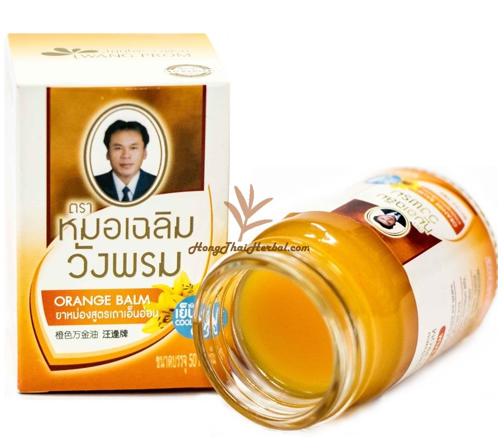 """<h2>Wangphrom Orange Balm size 50 gram Cool Formula Relieve Pain Body massage Area</h2><h2><p><img src=""""https://images.accessories-product.com/imgProduct/UsHon-20181025154218724/UsHon-20181025154218724-20210617121559/Wtmk_ac7e5340-2083-41be-9e2c-26ee64b00707.jpg"""" class=""""img-thumbnail"""" style=""""line-height: 1.42857; width: 693.6px;""""><br></p><p><span style=""""font-size: 18px;"""">Dr. Chalerm Wangprom Herbal Balm, Blue Balm, Cooling Formula, is a common home remedy, traditional medicine, for external use. Helps relieve aches and pains Relieve cold symptoms, nasal congestion, cure sprains, numbness, dizziness, apply to cure rashes and insect bites.</span></p><p><span style=""""font-size: 18px;""""><span style=""""font-weight: bold;"""">Indication :</span></span></p><ul><li><span style=""""font-size: 18px;"""">Reduces tension on the tendons.</span></li></ul><p><span style=""""font-size: 18px; font-weight: bold;"""">Ingredients:</span></p><p><span style=""""font-size: 18px;"""">Cryptolepis Buchanani 50%</span></p><p><span style=""""font-size: 18px;"""">Petroleum Jelly 20%</span></p><p><span style=""""font-size: 18px;"""">Paraffine 15%</span></p><p><span style=""""font-size: 18px;"""">Menthol 8%</span></p><p><span style=""""font-size: 18px;"""">Pogostemon Caslin 4%</span></p><p><span style=""""font-size: 18px;"""">Camphor 3%</span></p><p><span style=""""font-size: 18px; font-weight: bold;"""">Function :</span></p><ul><li><span style=""""font-size: 18px;"""">Reduces tension on the tendons.</span></li><li><span style=""""font-size: 18px;"""">Arthritis, Back Pain, Cramps, Muscle Pain, Tennis Elbow</span><br><br></li></ul><p><span style=""""font-size: 18px;""""><span style=""""font-weight: bold;"""">Direction:</span>Massaged to affected area as need. Rub the balm gently on affected area.</span></p><p><span style=""""font-size: 18px;""""><span style=""""font-weight: bold;"""">Precaution:</span>Consult your doctor before using this product if you are pregnant. Not suitable for young children.</span></p><p><span style=""""font-weight: bold; font-size: 18px;"""">Registration No : G 312/61</spa"""