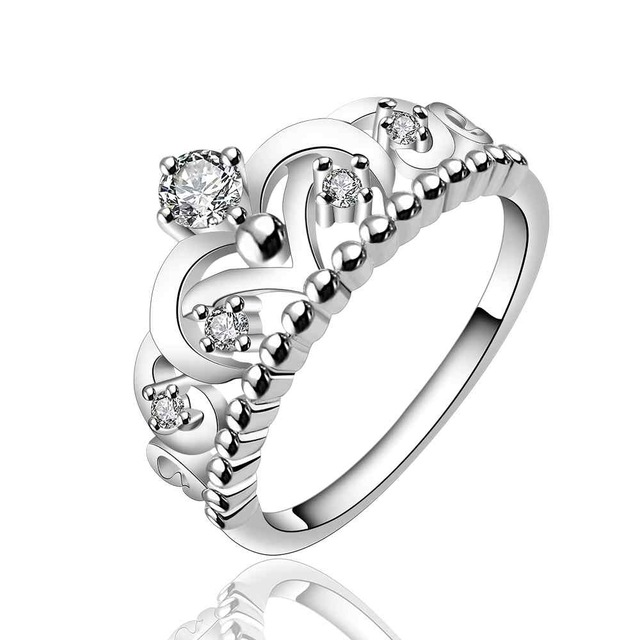 Luxury Fashion Jewelry Silver Plated Crown Shape Ring With Crystal AAA <br /> <br />