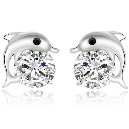 Dolphin Crystal Rhinestone Zircon Studs Earrings  <br /> <br />